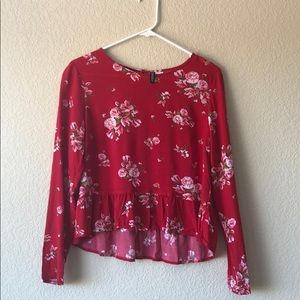 H&M Red floral peplum top